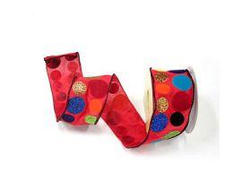 Лента упаковочная из капрона 6смх4,5 м,1 шт,красная разноцветная