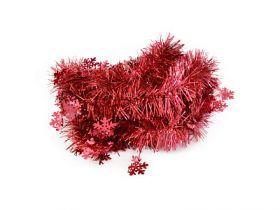 Мишура одноцветная со СНЕЖИНКАМИ, красная, блестящая, 60/100 мм, длина 2 м