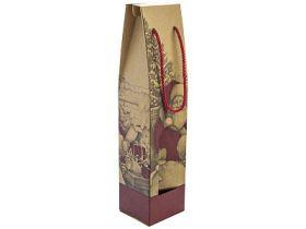 Пакет подарочный крафт ЛЮКС, 83*385*88 мм, под бутылку, 160/300 г