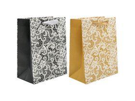 Пакет подарочный ламинированный, 18*23*10 см, с блест.крошкой, 2 дизайна, бумага