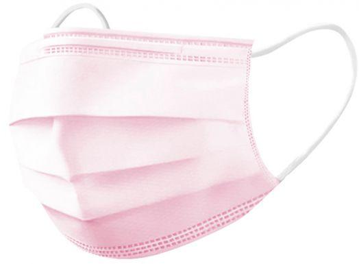 Маска медицинская трехслойная Розовая