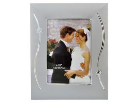 Рамка, 10х15 см, металл, 35 мм багет, серебристый цв., с узором, WINTER WINGS