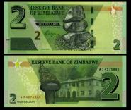 ЗИМБАБВЕ - 2 доллара 2019. ПРЕСС UNC