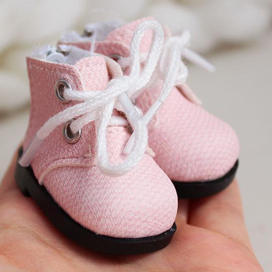 Обувь для кукол 5 см - ботиночки на молнии розовые
