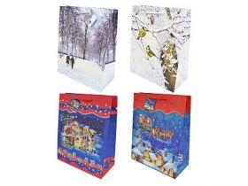 Сумка подарочная бумажная ламинированная с блестящей крошкой, 26х32х13 см, 10 дизайнов