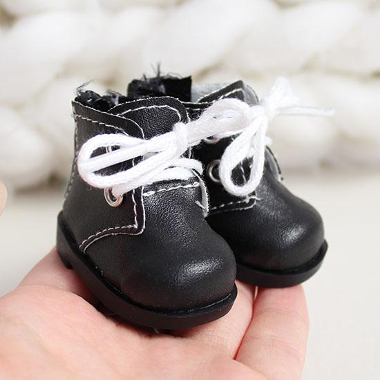 Обувь для кукол 5 см - ботиночки на молнии черные