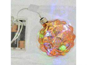 Украшение елочное ШАР БАРОККО с LED, 1 шт, 8 см, в карт.кор, стекло