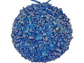 Украшение елочное ШАР в блестящей крошке, 1 шт, 10см, полим.мат, синий