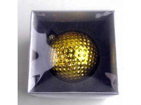 Украшение елочное шар ПАВЛИН, с тиснением, золотой, 1 шт., 8 см, стекло