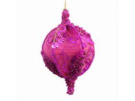 Украшение елочное ШАР РОЗОВЫЙ С БЛЕСТКАМИ,13 см, розовый, полимерный материал