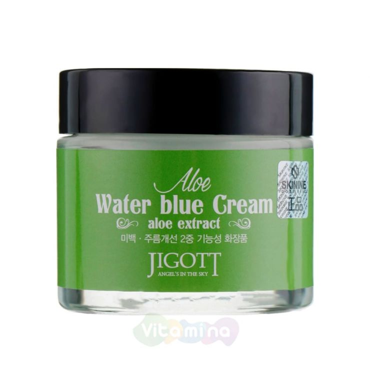 Jigott Увлажняющий крем для лица с экстрактом алоэ Aloe Water Blue Cream, 70 мл