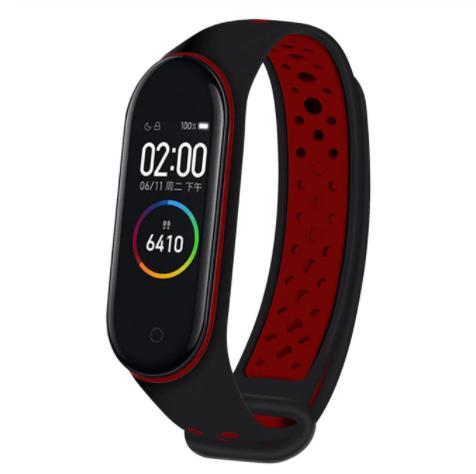 Спортивный ремешок на фитнес-браслет Xiaomi mi band 5/6 ( черно-красный )
