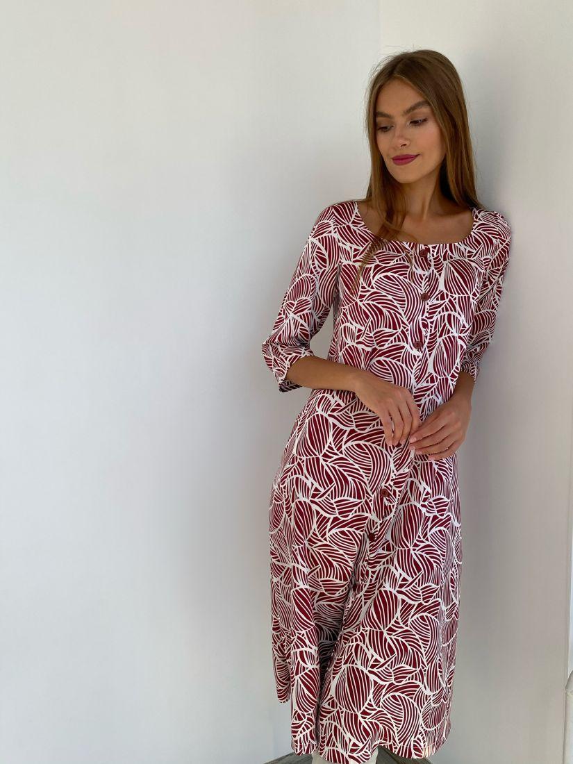 s2288 Платье с вырезом каре с абстрактным бордовым принтом