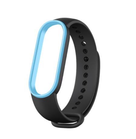 Сменный двухцветный ремешок на фитнес-браслет Xiaomi mi band 5/6 ( черно-голубой )