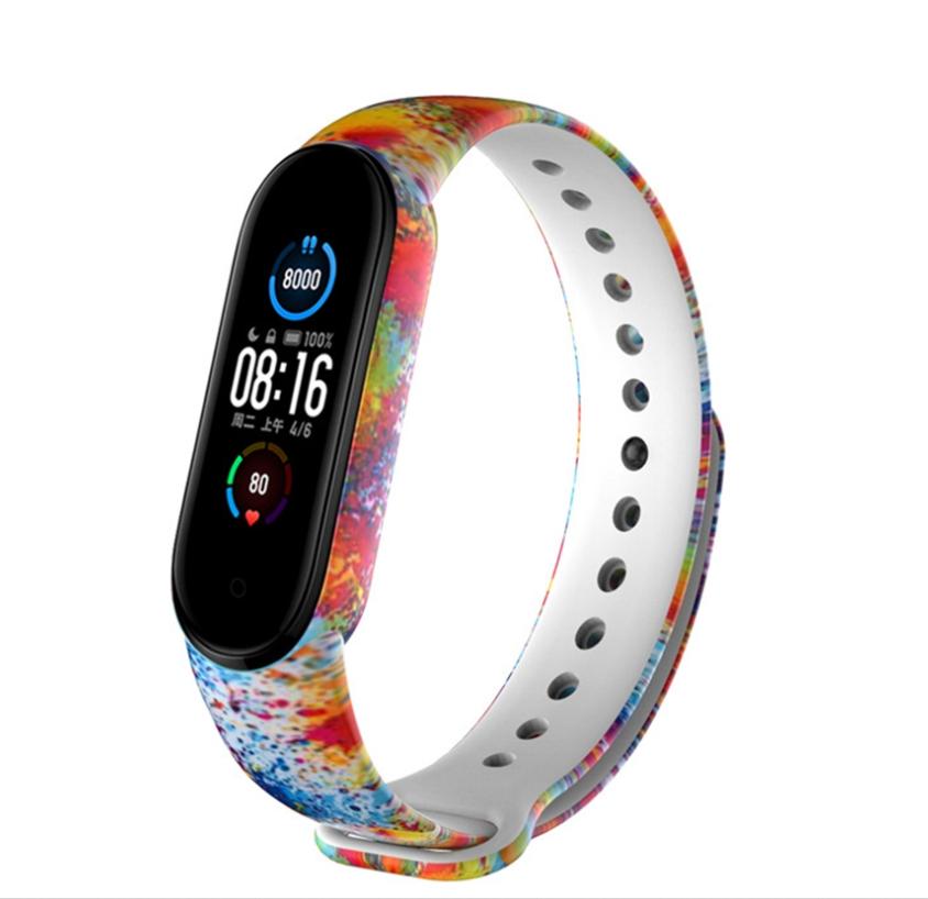 Сменный ремешок с рисунком на фитнес-браслет Xiaomi mi band 5 ( цветной всплеск )