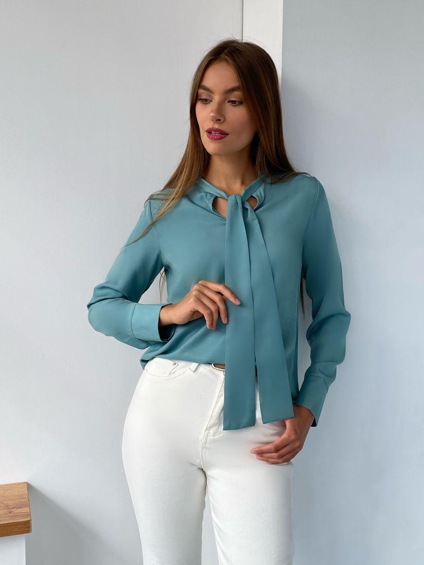 s2298 Блуза с завязками фисташковая