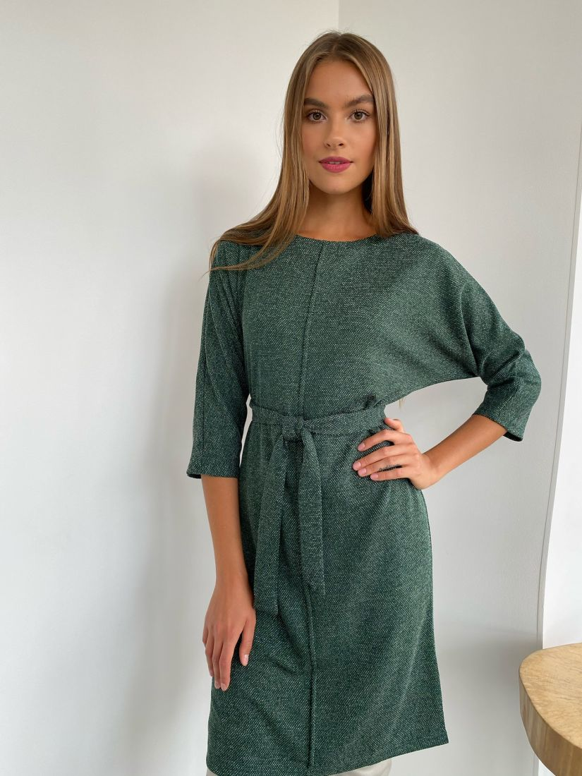 s2306 Платье из трикотажа с планкой изумрудное