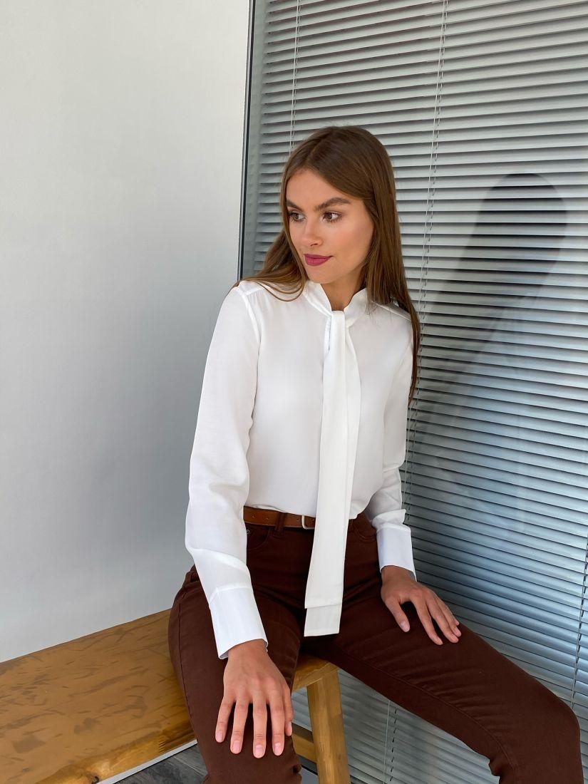 s2321 Блуза с завязками белая