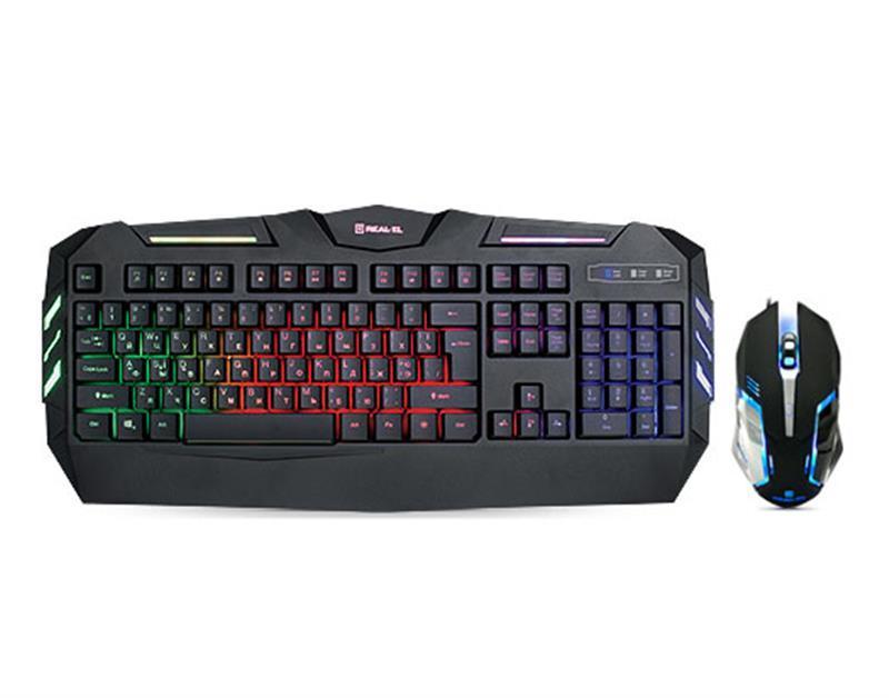 Комплект (клавиатура, мышь) REAL-EL Gaming 9500 Kit Backlit Black USB