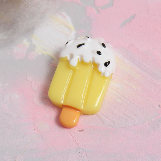 Кукольная миниатюра - Кабошон эскимо банановое, 2 см