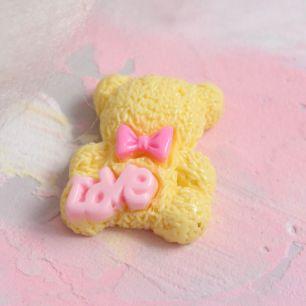 Кукольная миниатюра - Кабошон медвежата желтые 2 см
