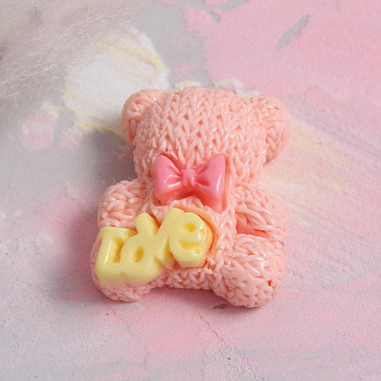 Кукольная миниатюра - Кабошон медвежата персиковые 2 см