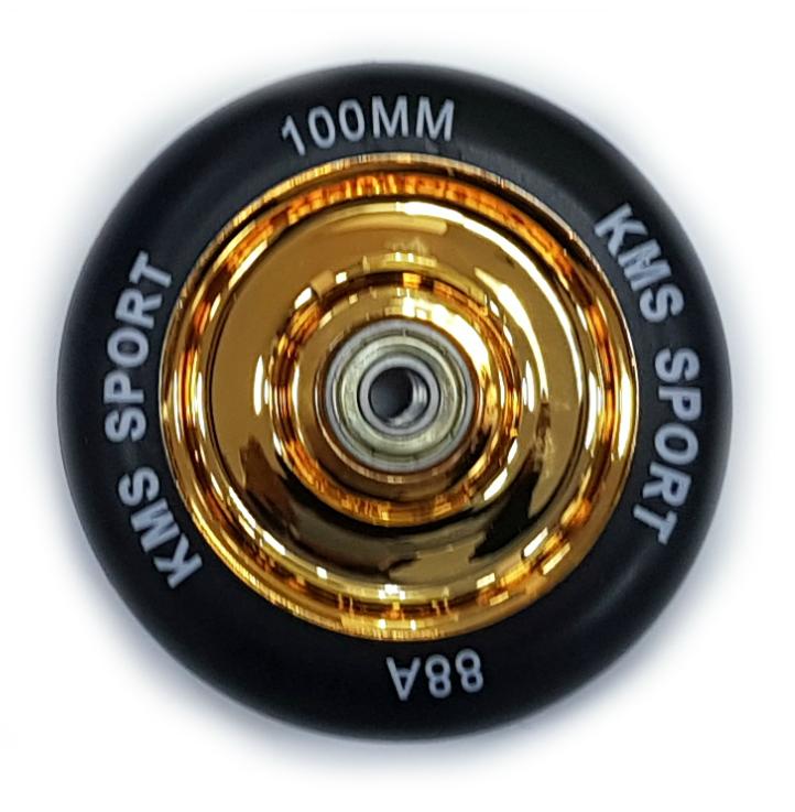 Колесо КМС 100 мм с литым пластиковым диском золото