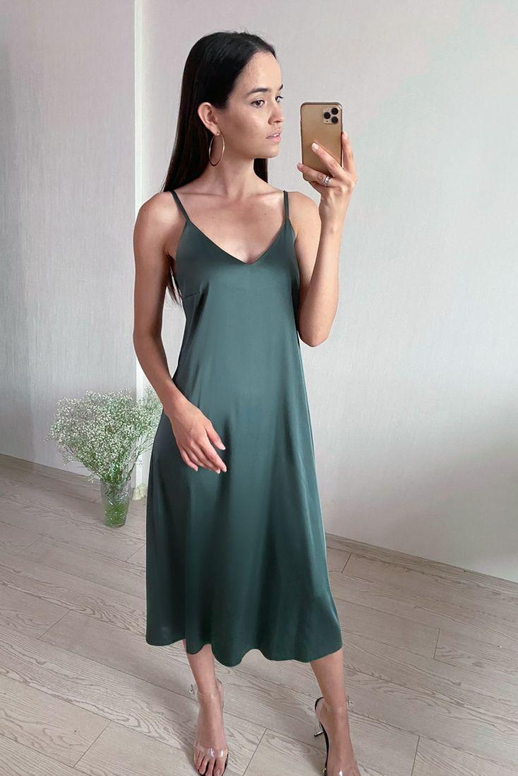 s1786 Платье-комбинация из шёлка Армани в сине-зелёном цвете
