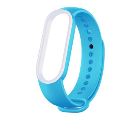 Сменный двухцветный ремешок на фитнес-браслет Xiaomi mi band 5 ( Голубой-белый )