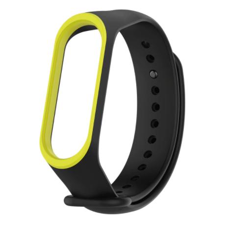 Сменный двухцветный ремешок на фитнес-браслет Xiaomi mi band 5 ( Черно-зеленый )