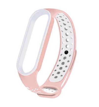 Спортивный ремешок на фитнес-браслет Xiaomi mi band 5/6 ( Розово-белый )