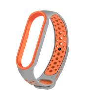 Спортивный ремешок на фитнес-браслет Xiaomi mi band 5 ( Серо-оранжевый )