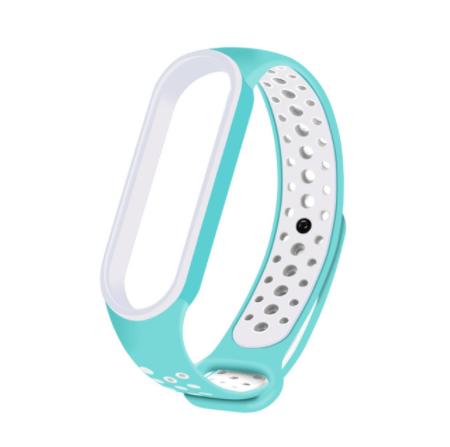 Спортивный ремешок на фитнес-браслет Xiaomi mi band 5/6 ( Бирюзовый-белый )