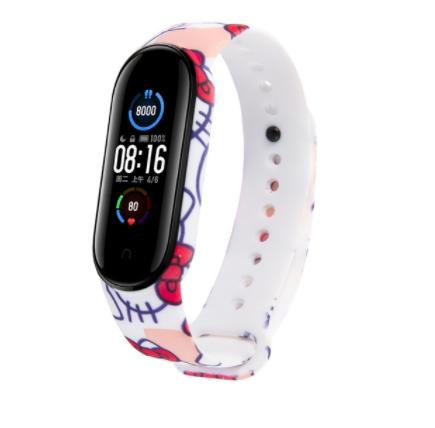Сменный ремешок с рисунком на фитнес-браслет Xiaomi mi band 5/6 ( Кити)