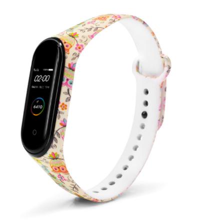 Сменный ремешок с рисунком на фитнес-браслет Xiaomi mi band 5/6 ( Совы-бежевые )