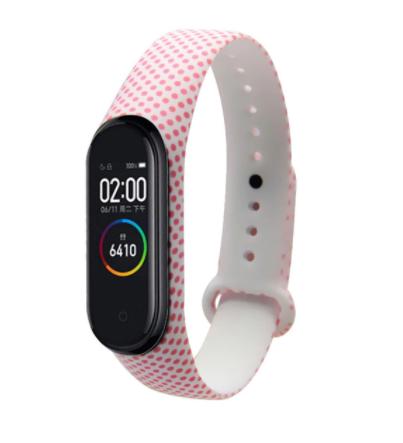 Сменный ремешок с рисунком на фитнес-браслет Xiaomi mi band 5/6 ( Горошек-розовый )