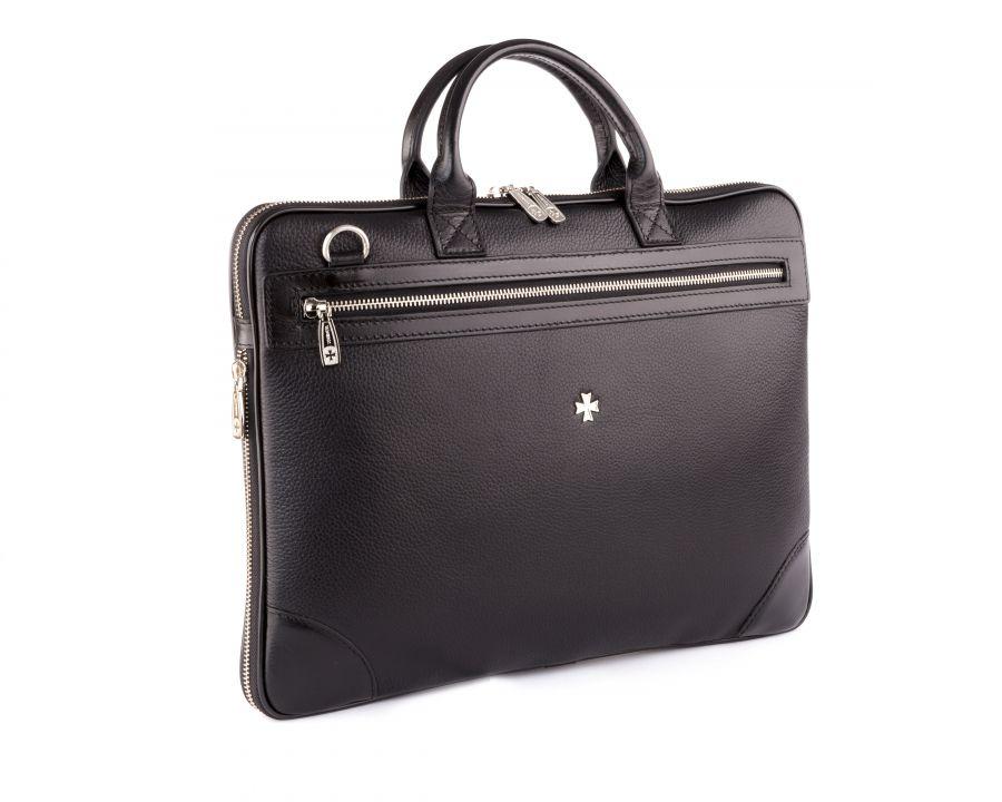 Портфель-сумка из натуральной кожи с увеличением объема Narvin 9742-N.Polo Black