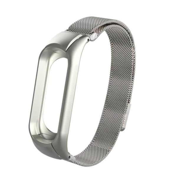 Сменный металлический ремешок с магнитной застежкой на фитнес-браслет Xiaomi mi band 5 ( Серебро )