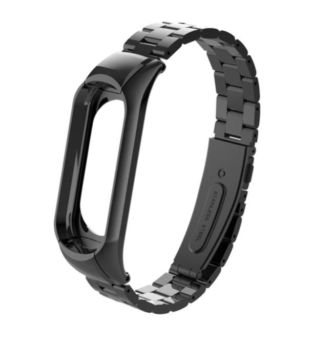 Сменный металлический ремешок с крупным звеном на фитнес - браслет Xiaomi Mi Band 5 ( Черный )