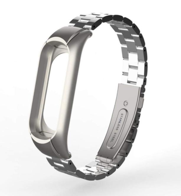 Сменный металлический ремешок с крупным звеном на фитнес - браслет Xiaomi Mi Band 5 ( Серебро )