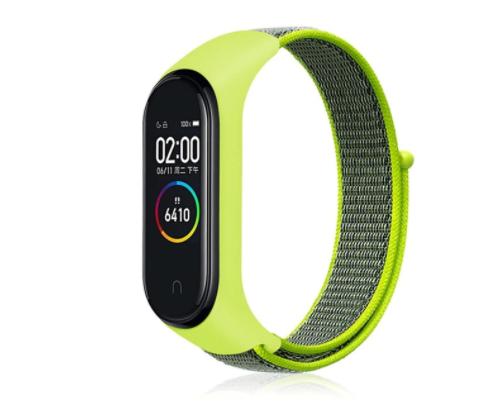 Сменный тканевый ремешок на фитнес-браслет Xiaomi mi band 5/6 ( Зеленый с темным ремешком )