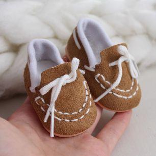 Обувь для кукол 6,5 см - Мокасины коричневые