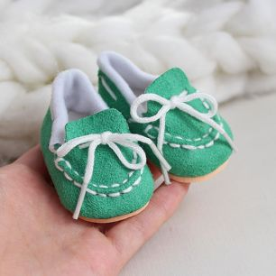 Обувь для кукол 6,5 см - Мокасины зеленые