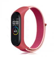 Сменный тканевый ремешок на фитнес-браслет Xiaomi mi band 5/6 ( Розовый с розовой полоской )
