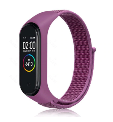 Сменный тканевый ремешок на фитнес-браслет Xiaomi mi band 5 (Фиолетовый )