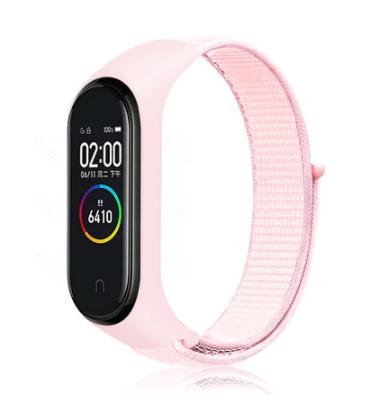 Сменный тканевый ремешок на фитнес-браслет Xiaomi mi band 5/6 ( Розовый )