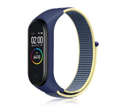 Сменный тканевый ремешок на фитнес-браслет Xiaomi mi band 5/6 ( Синий с бежевой полоской )