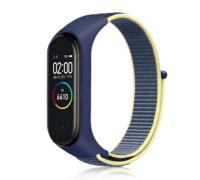 Сменный тканевый ремешок на фитнес-браслет Xiaomi mi band 5 ( Синий с бежевой полоской )