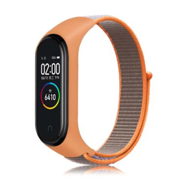 Сменный тканевый ремешок на фитнес-браслет Xiaomi mi band 5/6 ( Оранжевый с бежевым ремешком )