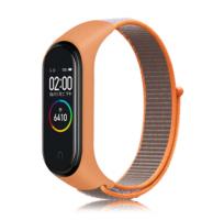 Сменный тканевый ремешок на фитнес-браслет Xiaomi mi band 5 ( Оранжевый с бежевым ремешком )